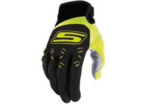 Cross gloves Black & Fluo Yellow  CE 1KP homologated